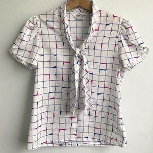 Vintage 80s Judy Bond Blouse Tie Neck Short Sleeve